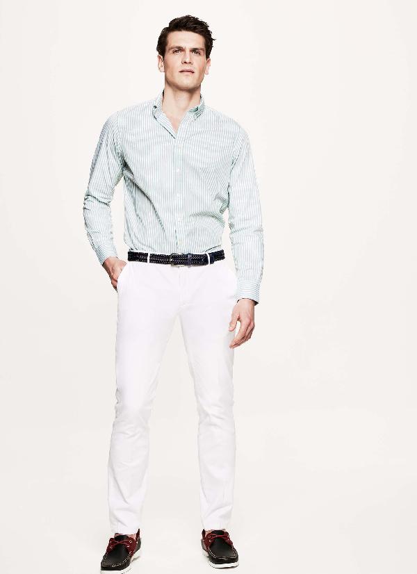 Hackett Striped Cotton Shirt In Red/white