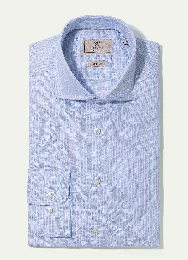 Hackett Cotton Shirt In White/sky