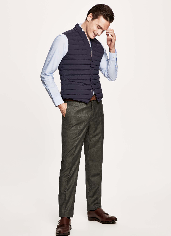 Hackett Quilted Technical Waistcoat In Blue