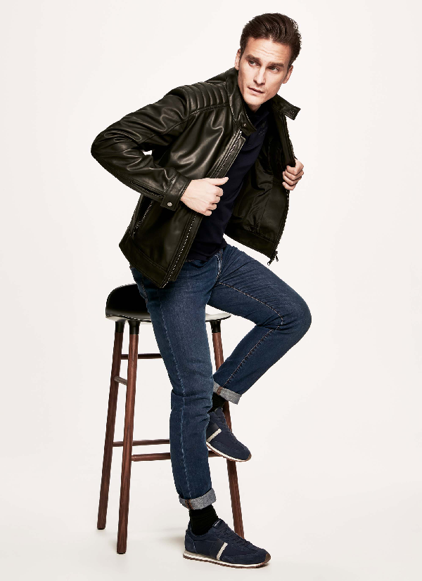 Hackett Moto Leather Jacket In Black