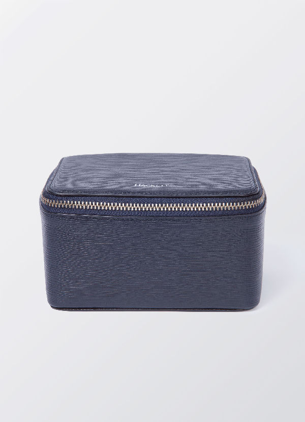 Hackett Curzon Leather Charger Case In Navy