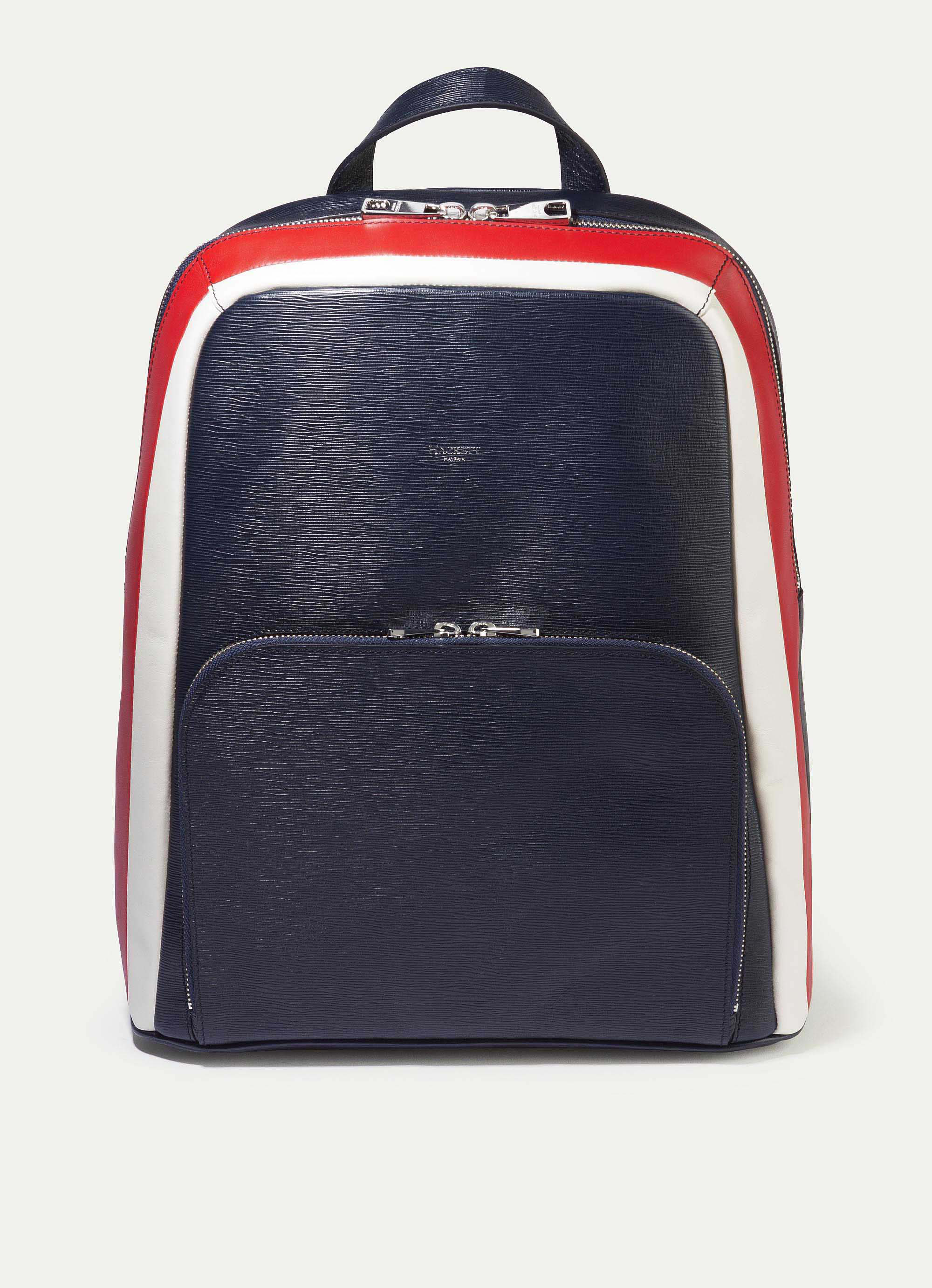 Hackett Curzon Leather Stripe Backpack In Navy
