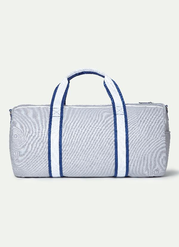Hackett Oar Stripe Cotton Duffle Bag In Lt Grey