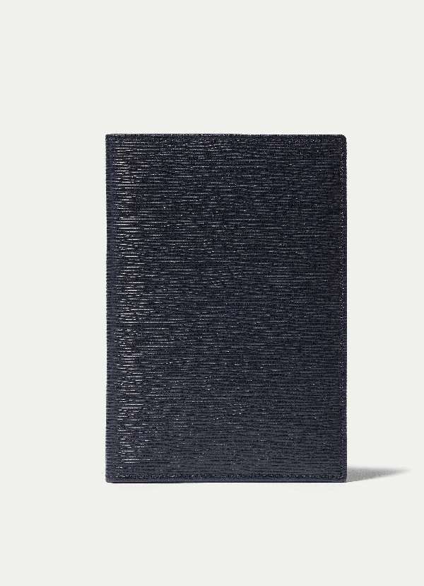 Hackett Curzon Colour Pop Leather Passport Wallet In Navy