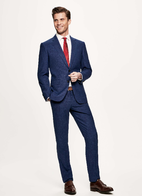 Hackett Wool, Silk And Linen-blend Suit In Bright Blue