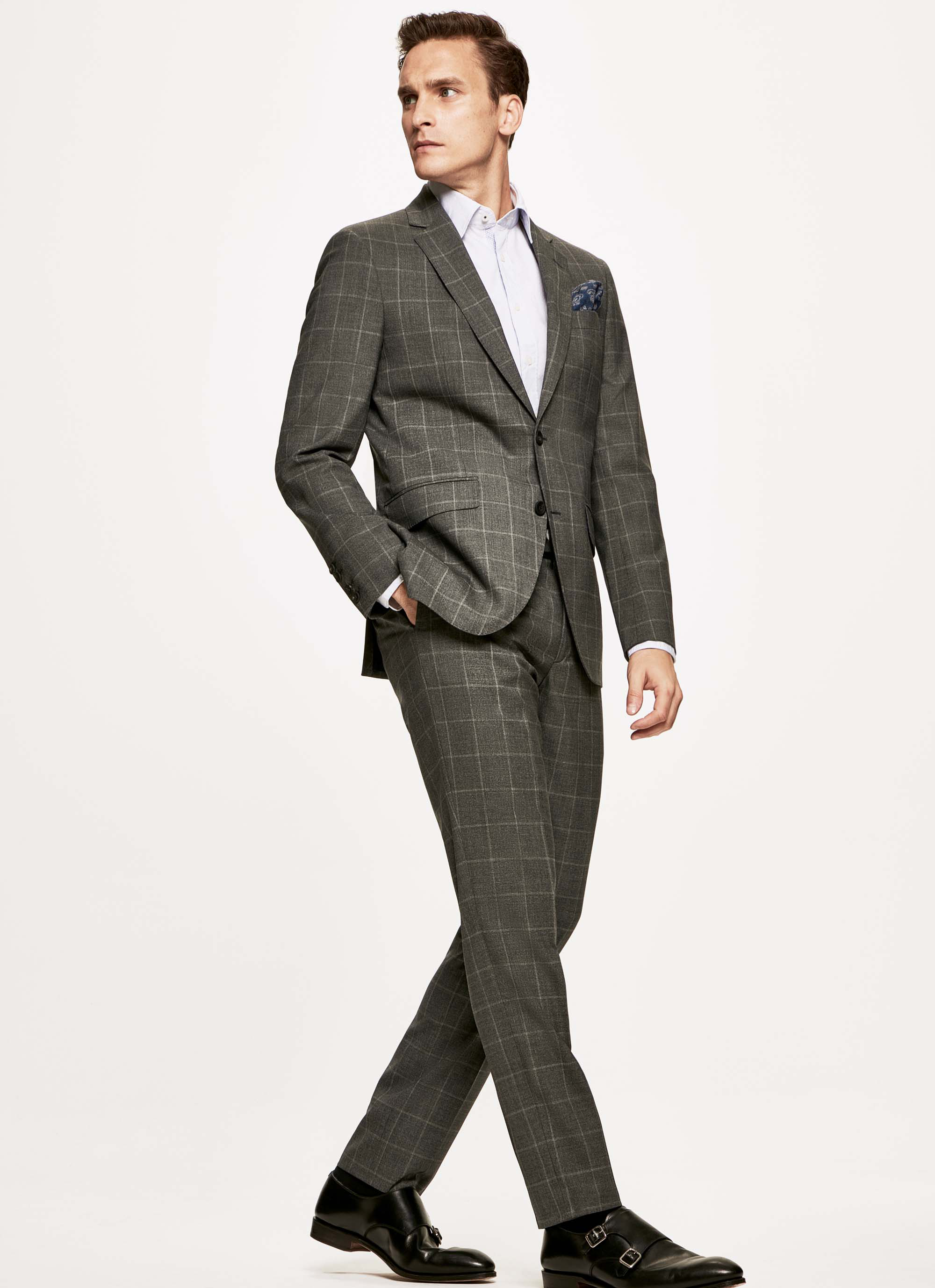 Hackett Checked Stretch-wool Journey Suit In Grey/cream