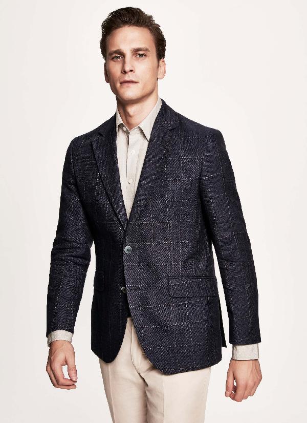 Hackett Windowpane Tailored Fit Wool Linen Blazer In Navy/blue