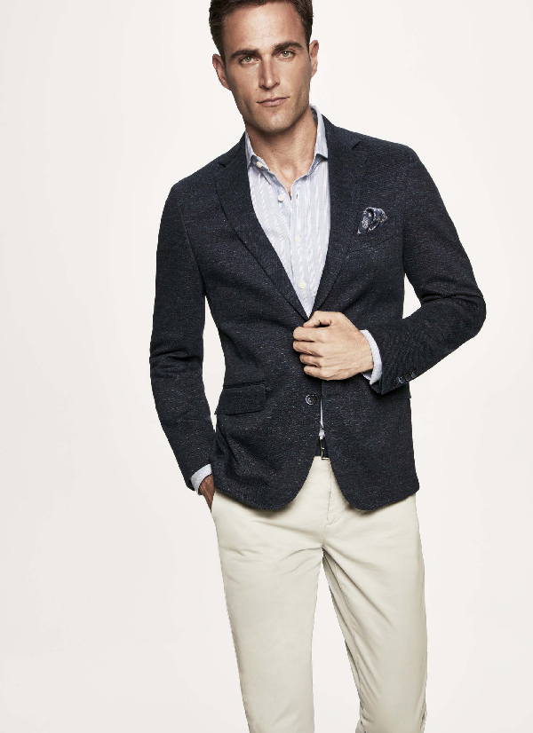 Hackett Cotton-jersey Blazer In Navy/grey
