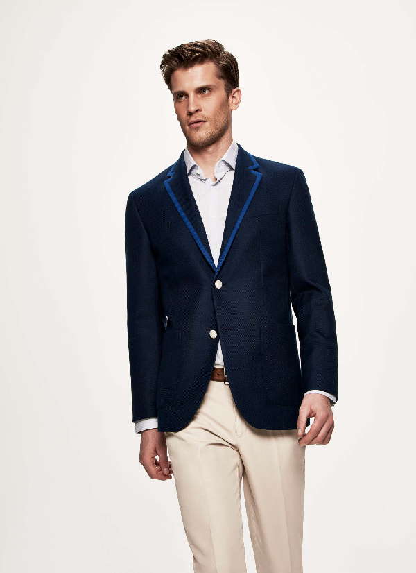 Hackett Piped Cotton And Wool-blend Blazer In Brightnavy