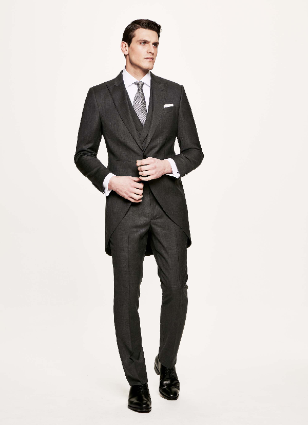 Hackett Three Piece Morning Suit In Charcoal