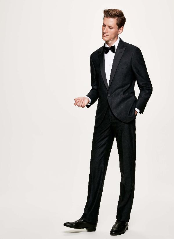 Hackett Peak Lapel Flannel Dinner Suit In Charcoal