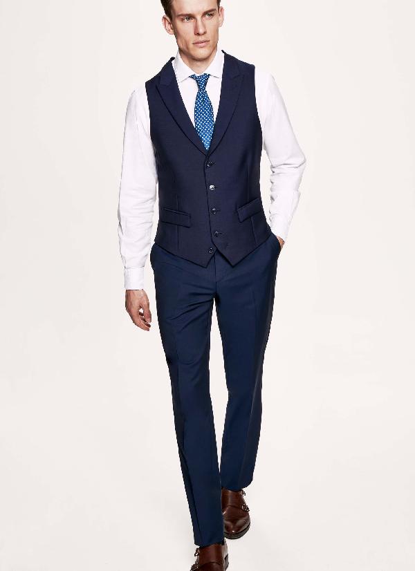 Hackett Wool And Mohair-blend Waistcoat In Brightnavy