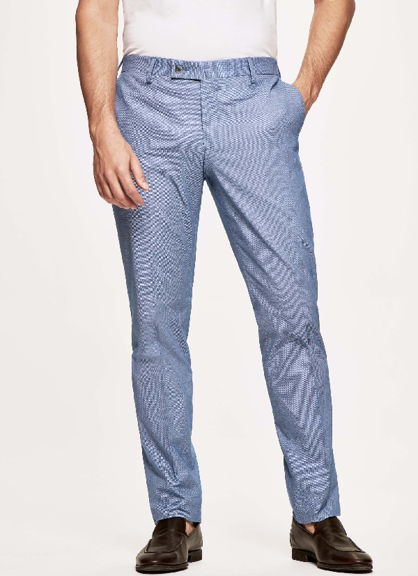 Hackett Textured Stretch-cotton Trousers In Blue/white