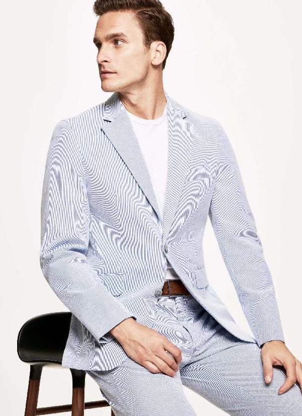Hackett Striped Stretch Cotton-blend Blazer In Blue/white