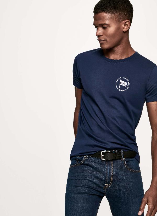 Hackett Printed Cotton-jersey Tee In Navy