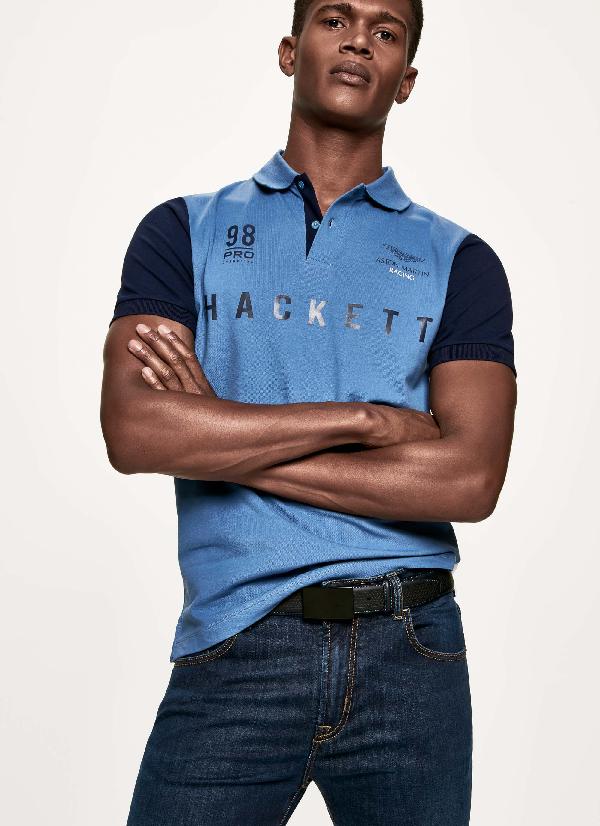 Hackett Printed Stretch Cotton-piquÉ Polo In Blue/multi