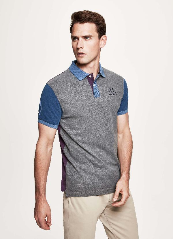 Hackett Multicoloured Stretch Cotton-piquÉ Polo In Grey/multi
