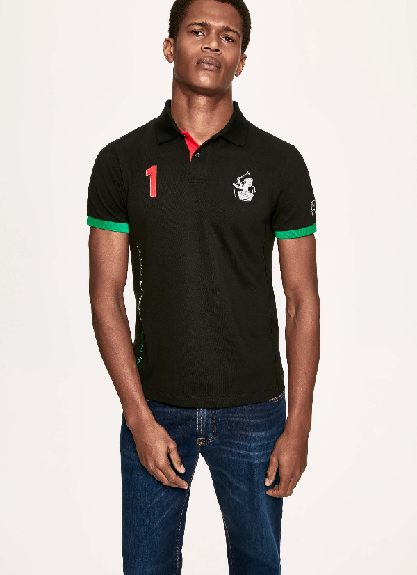Hackett Embroidered Cotton Polo In Black