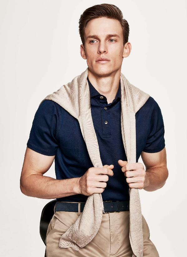 Hackett Cotton-jersey Polo In Indigo