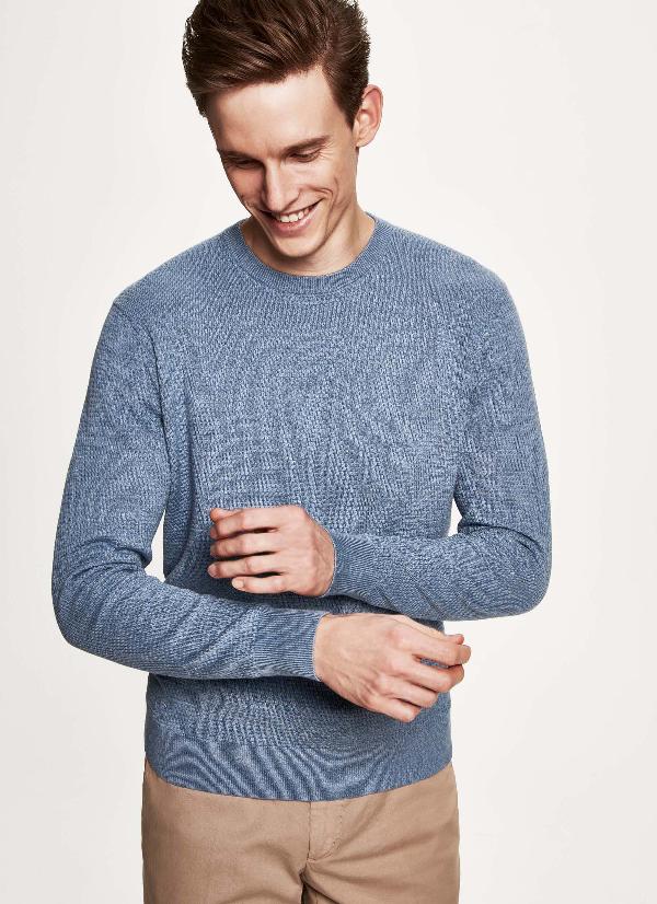 Hackett Textured Cotton And Silk-blend Sweater In Blue