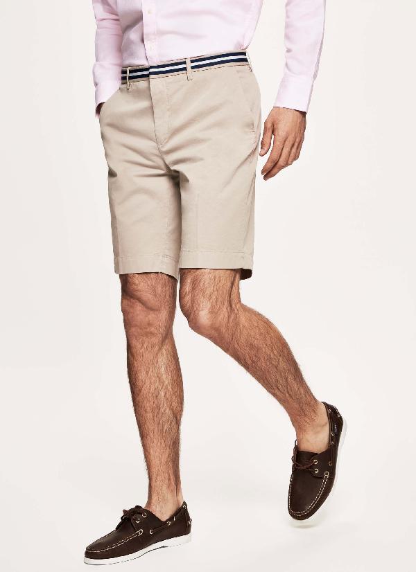 Hackett Striped Stretch-cotton Shorts In Sea Blue