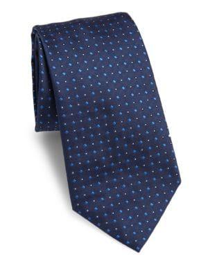 Armani Collezioni Diamond Patterned Silk Tie In Blue