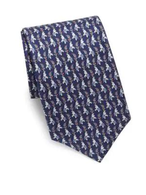 Salvatore Ferragamo Elephant Print Silk Tie In Blue