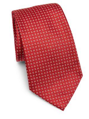 Armani Collezioni Silk Linear Tie In Red
