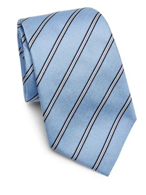 Armani Collezioni Striped Tie In Soft Blue