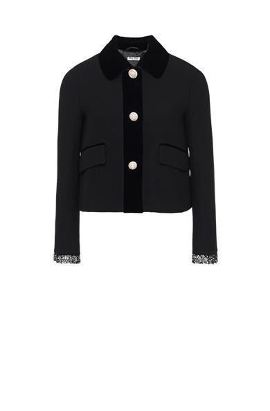 1c26a520d Miu Miu Three-Button Cropped Jeweled Cady Jacket In Black | ModeSens