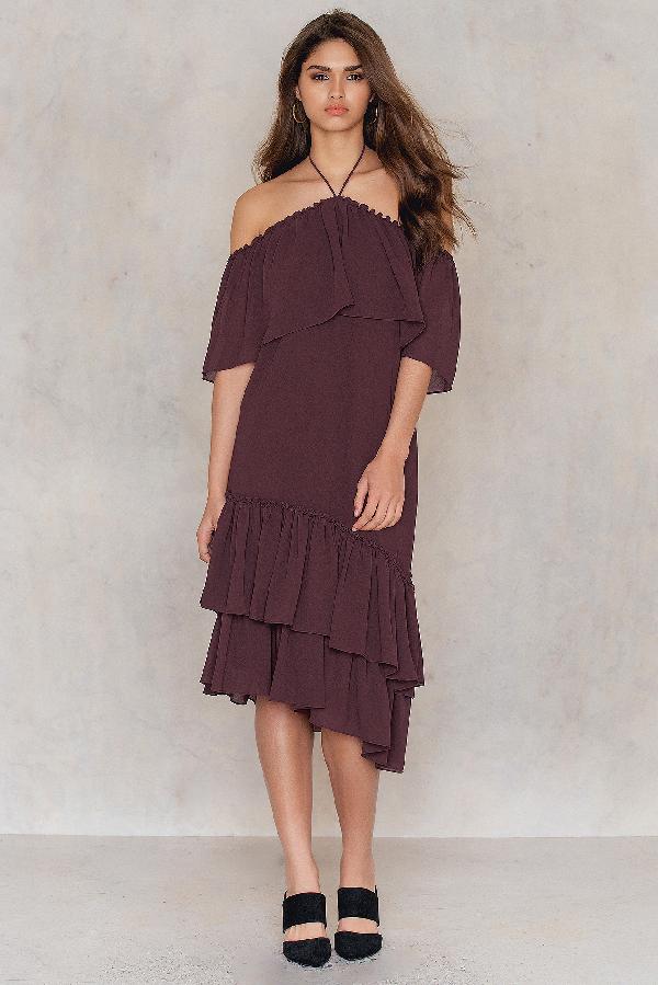 Tranloev Asymmetric Frill Dress Purple In Deep Purple