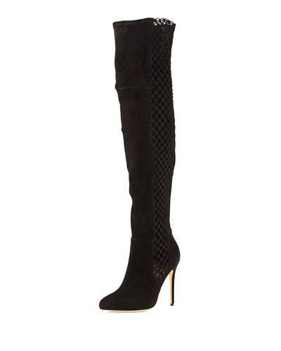 Alexandre Birman Stretch Suede & Crochet Over-The-Knee Boot In Black