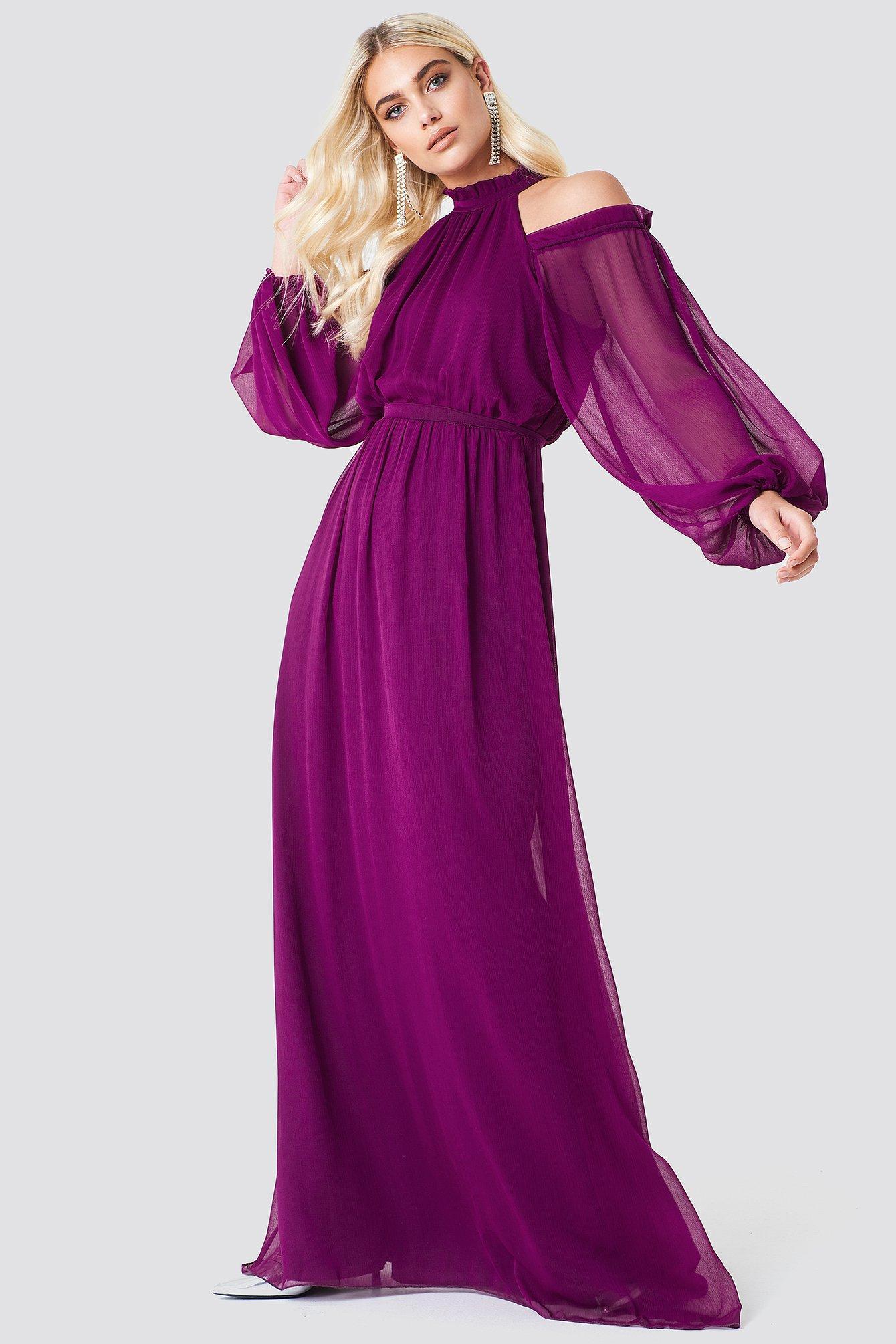 1f98d0ec42733 Balloon Sleeve Maxi Dress - Purple