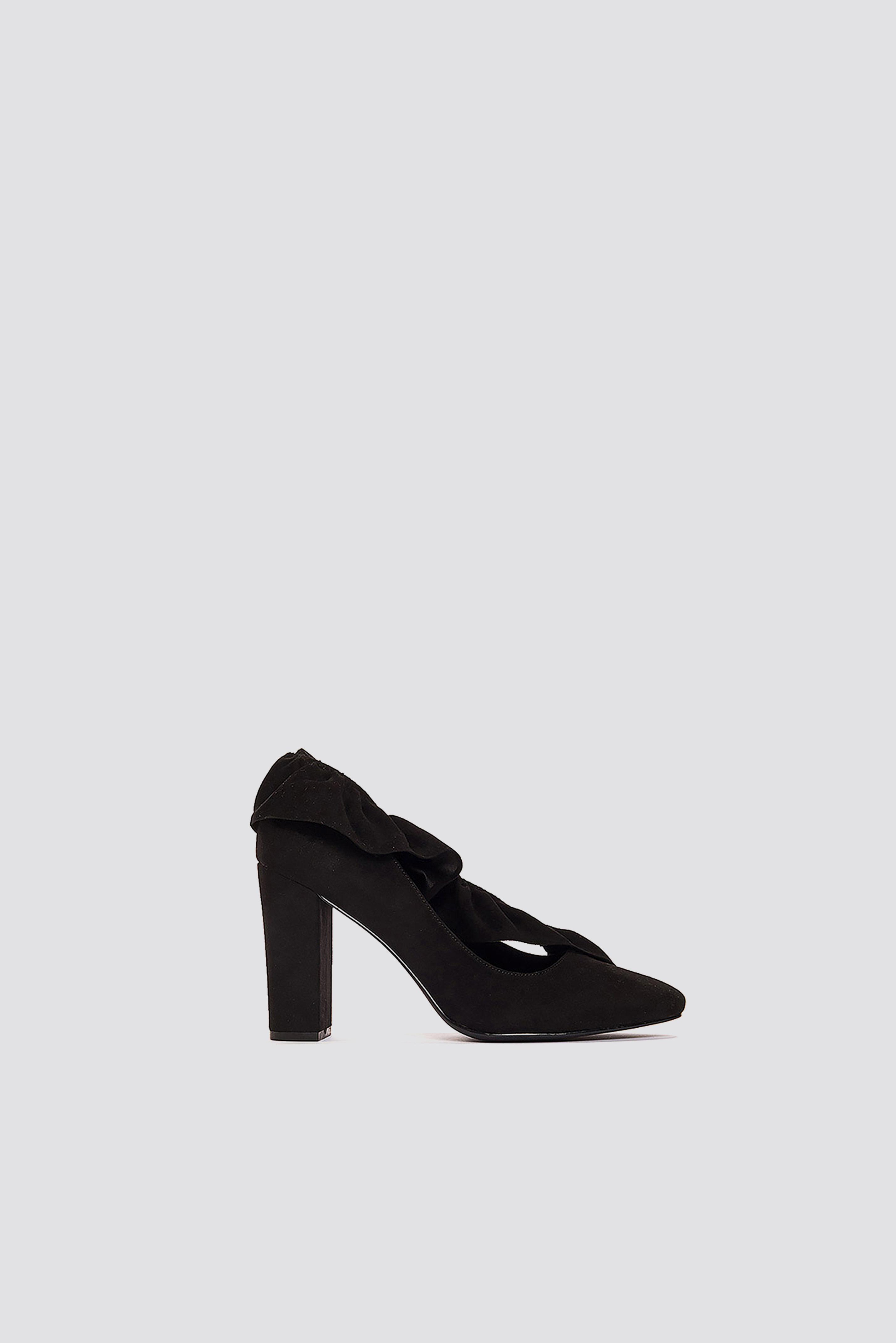 4018be24e0 Na-Kd Ruffle Mid Heel Pump - Black | ModeSens