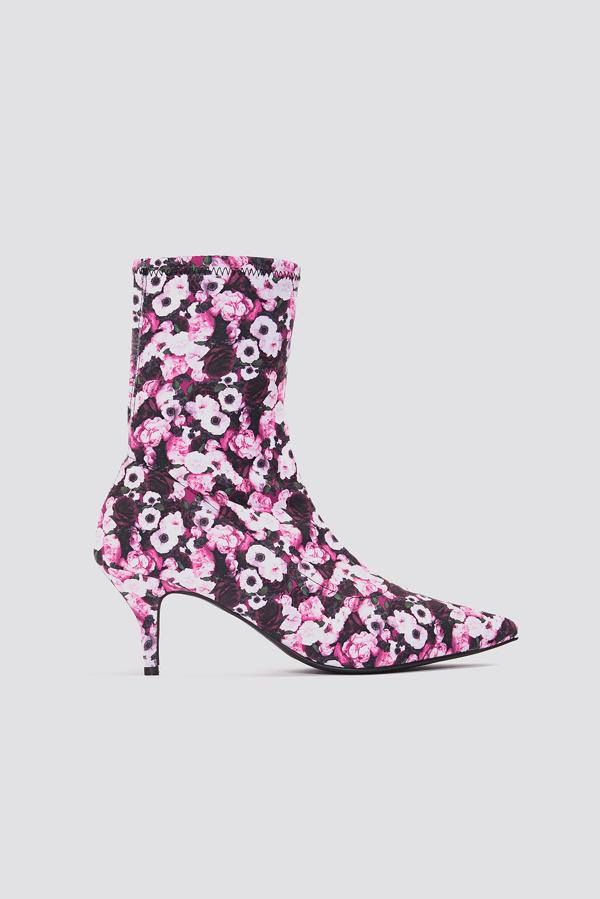 Na-kd Kitten Heel Sock Boot Multicolor In Pink Flower