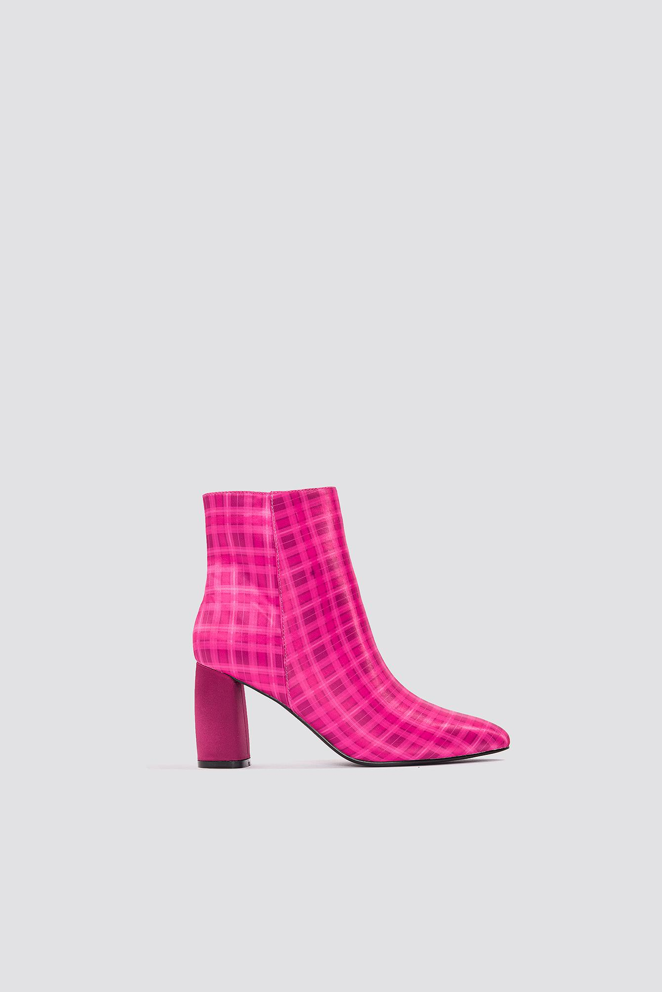 8fcc7b87d4 Na-Kd Printed Satin Mid Heel Boots - Pink, Multicolor In Pink,Multicolor
