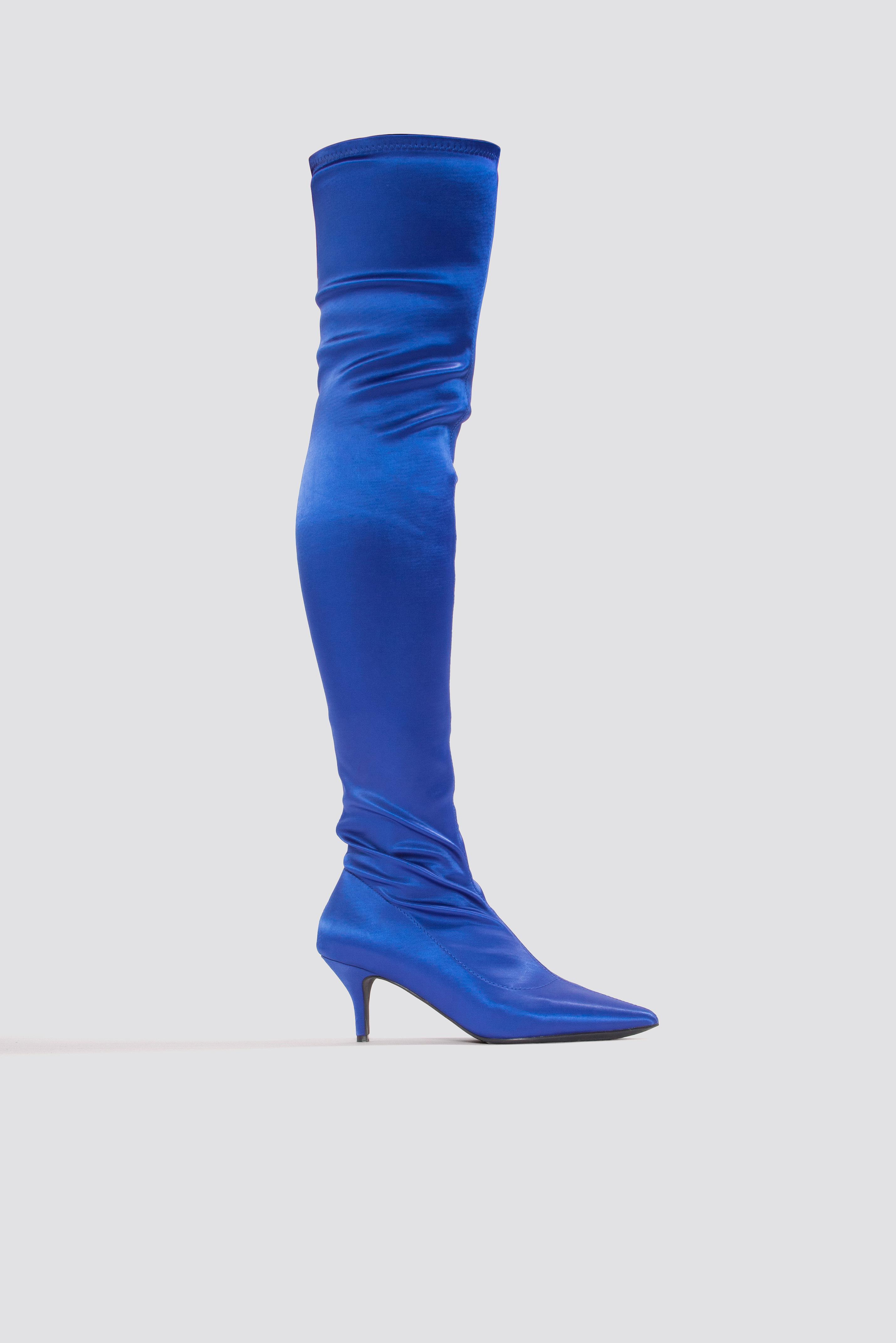 Na-kd Knee High Satin Sock Boot Blue In Cobalt