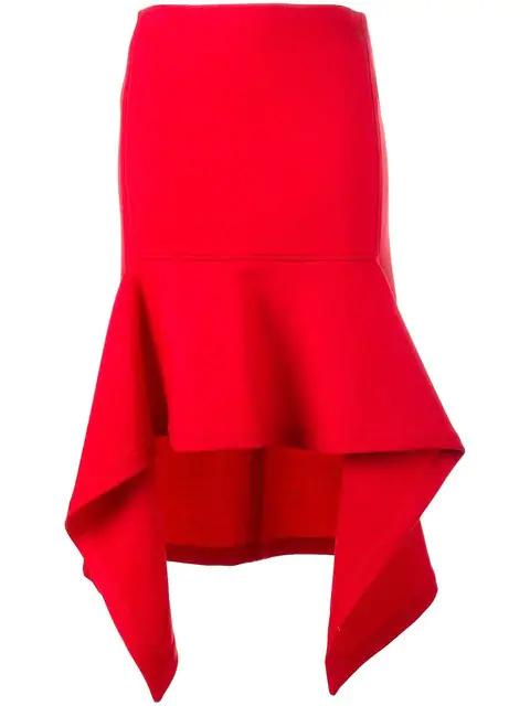 Marni Wool Blend Asymmetric Skirt In Red
