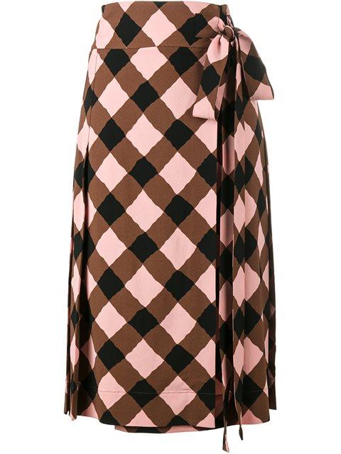 Marni Check Print Wrap Skirt In Brown
