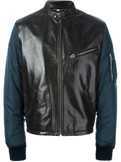 Dolce & Gabbana Bomber Sleeve Leather Jacket In Black