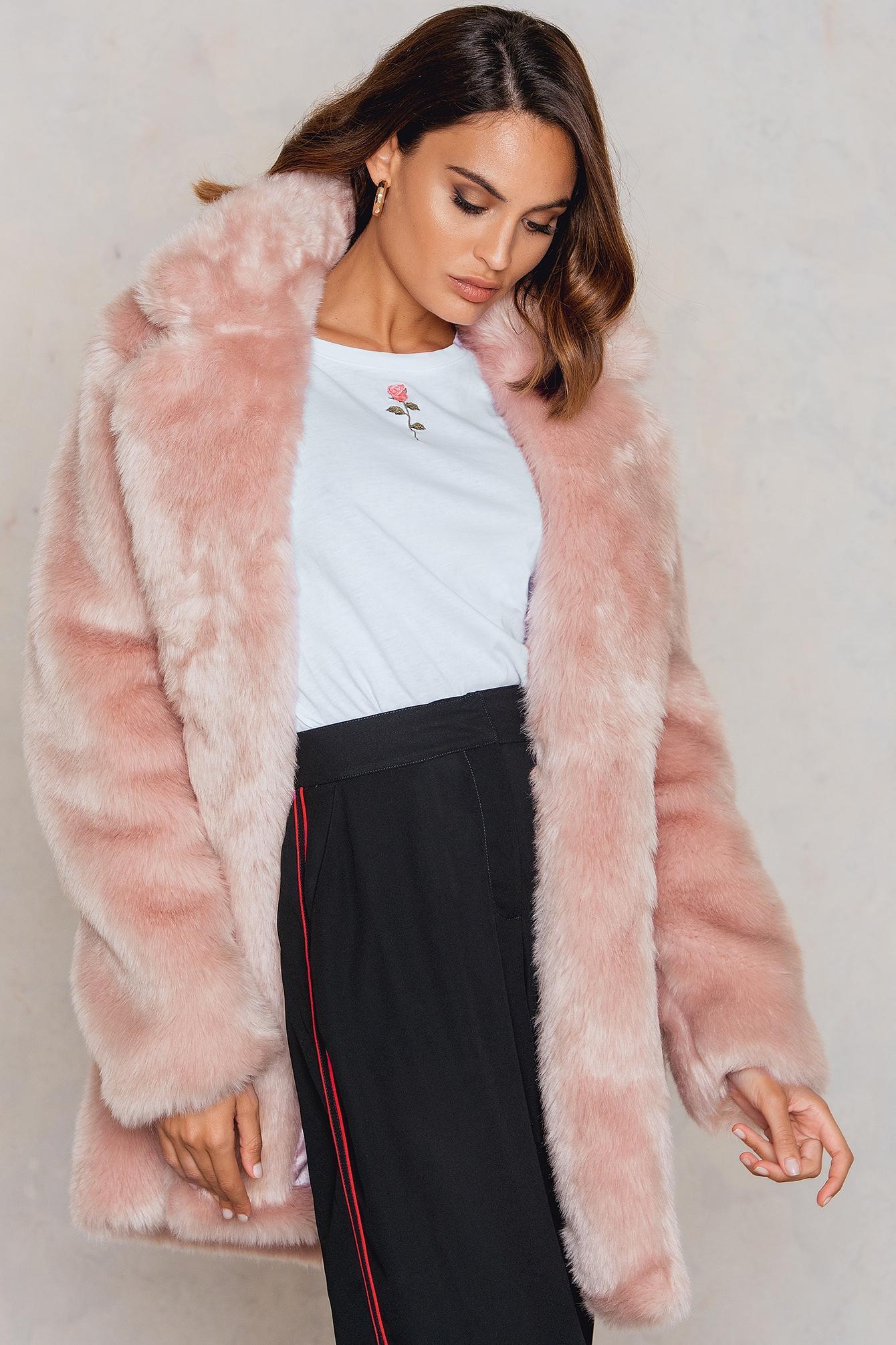 5c81432f22a Na-Kd Colored Faux Fur Coat - Pink