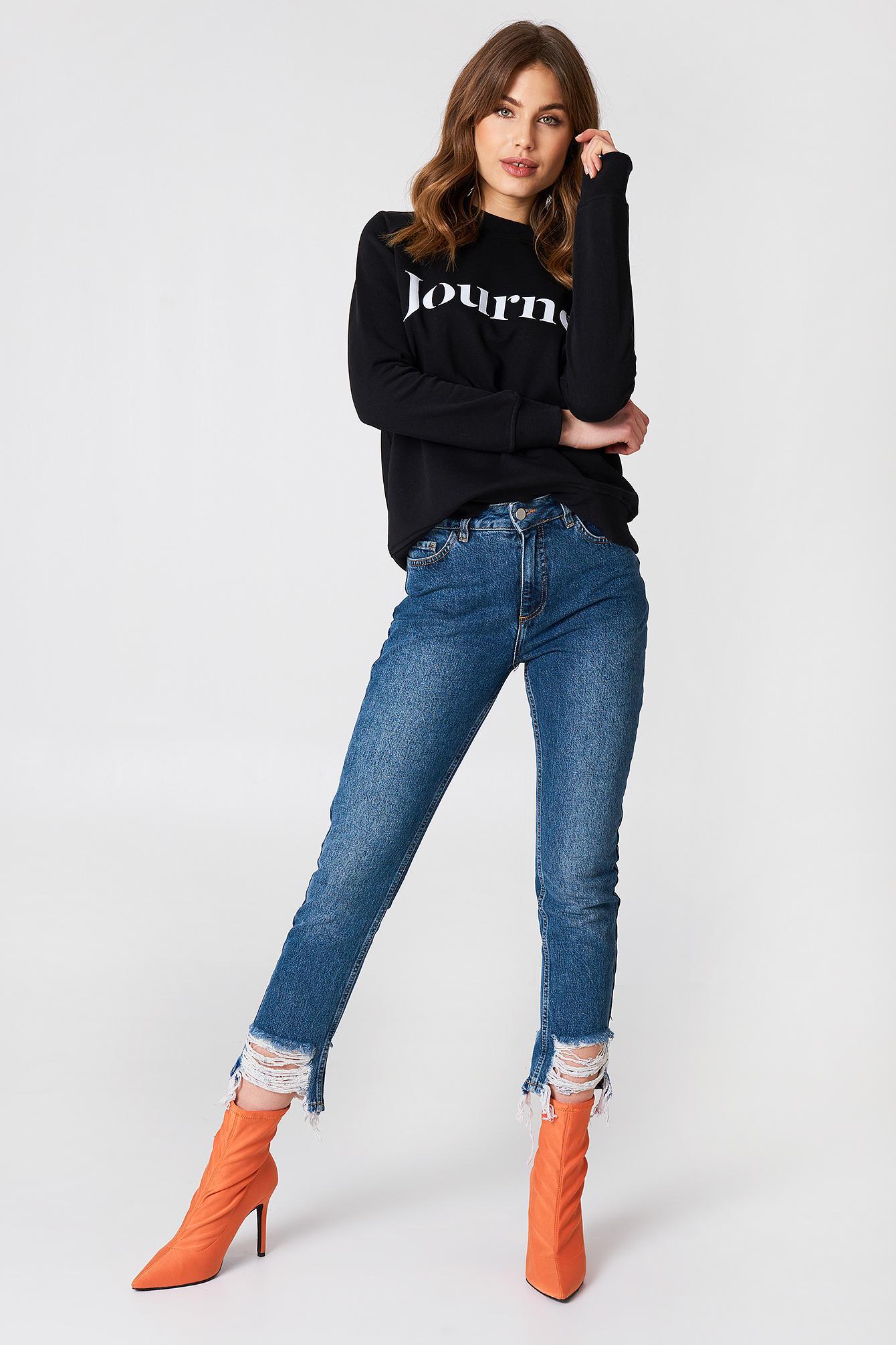e07e964569c Na-Kd Ripped Hem Jeans - Blue