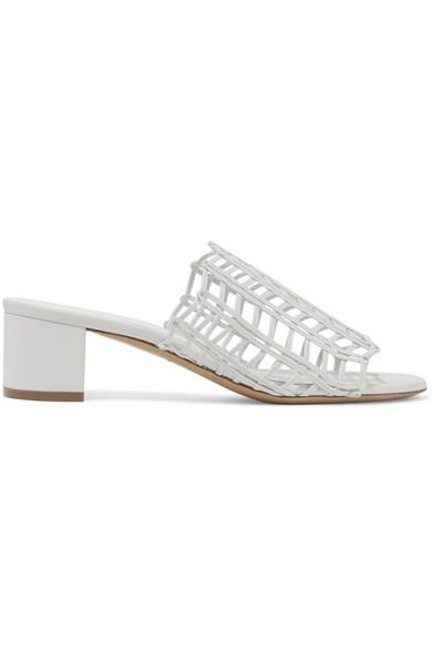 Mansur Gavriel Grid Metallic Leather Cutout Block-Heel Mule Slide Sandals In White