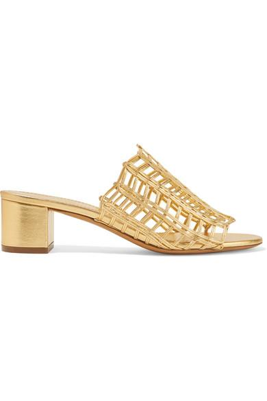 Mansur Gavriel Grid Metallic Leather Cutout Block-Heel Mule Slide Sandals In Gold