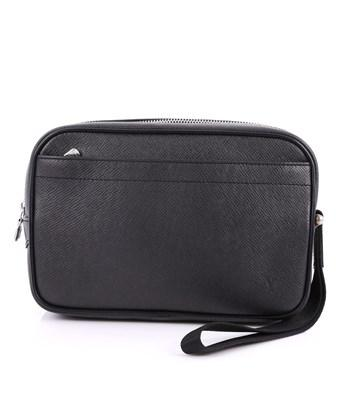 Louis Vuitton Pre-Owned: Kaluga Pochette Clutch Taiga Leather In Black
