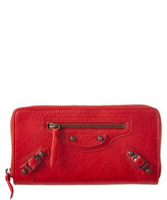 Balenciaga Classic Leather Continental Zip Round Wallet In Red