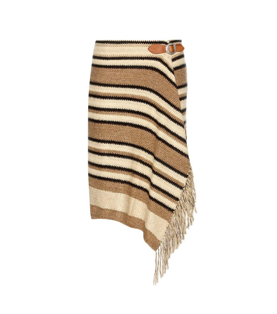 Polo Ralph Lauren Striped Knitted Silk, Cotton And Linen Wrap Skirt In Tae