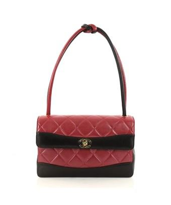 364a5b2da6203 CHANEL. Pre-Owned  Vintage Two Tone Knot Handle Flap Bag Quilted Lambskin  Medium in Red
