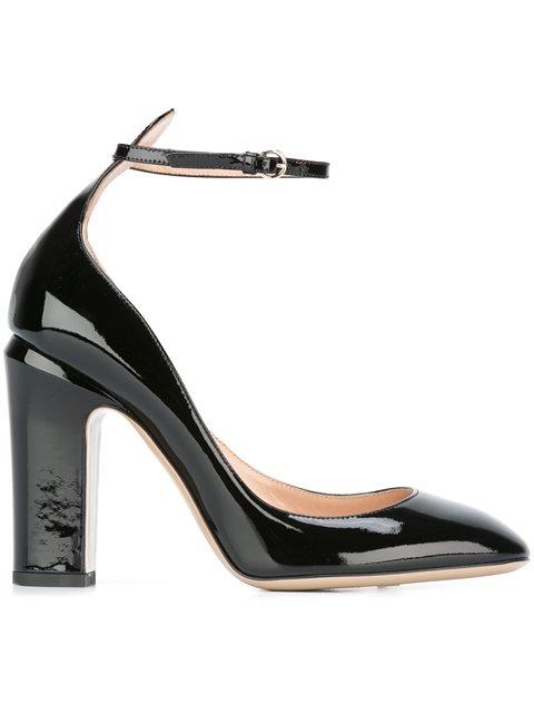 Valentino Garavani Patent Leather Tan-go Pumps In Black