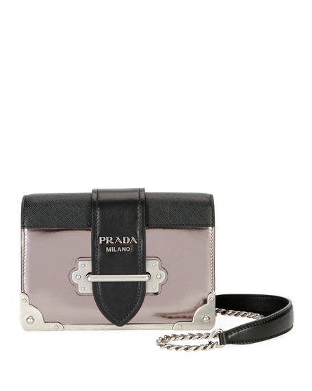 9c81e1cef116 Prada Cahier Small Metallic Crossbody Bag In Black/Iron | ModeSens